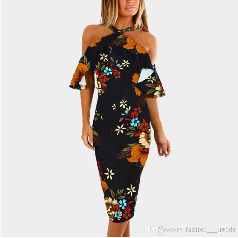 Plus Size Bandage Dress 2018 Sexy Party Dress Black Floral Print