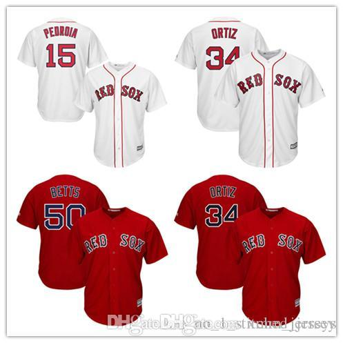 6cad3254c Men's Boston Red Sox Mookie Betts 50 Jersey Dustin Pedroia 15 David Ortiz  34 Majestic Scarlet Alternate Cool Base Player stitched Jerse