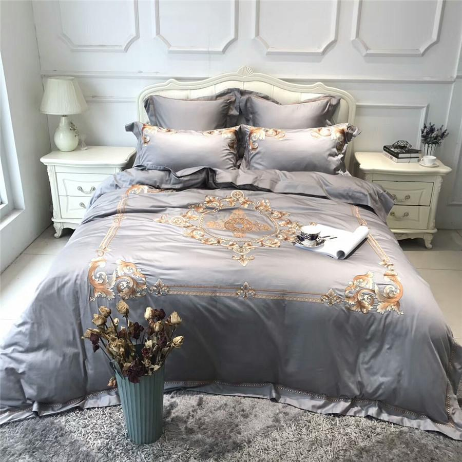 New egypt coon embroidery luxury bedding sets grey purple queen king size adults bed sheet set duvet cover pillowcases 4 6 38 best duvet covers daybed