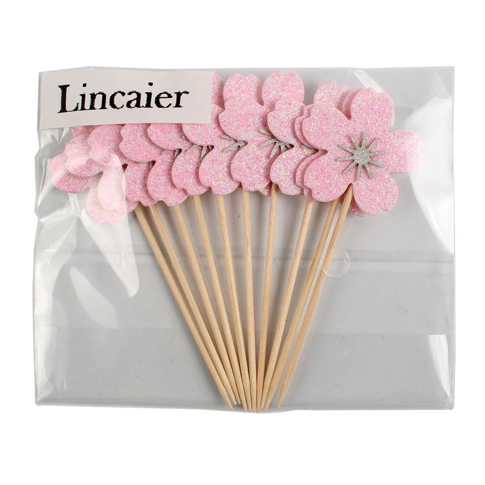 Lincaier 10 pezzi rosa fiori di ciliegio cupcake toppers ragazza decorazioni festa di compleanno bambini fiore forniture torta accessori