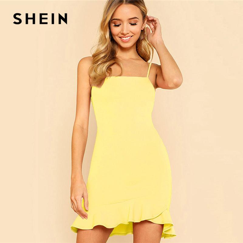a0672d5d9a31 20187 SHEIN Yellow Party Sexy Ruffle Hem Solid Asymmetrical Drop ...