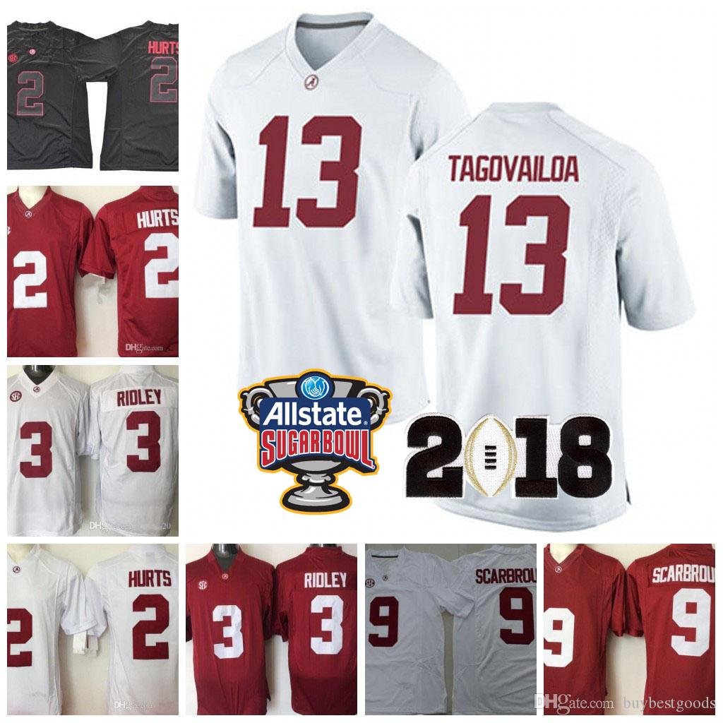 NCAA Alabama Crimson Tide # 13 Tua Tagovailoa 2 Jalen Hurts # 3 Ridley 29 Fitzpatrick 9 Scarbrough Red White 2018 Championship Football Jersey