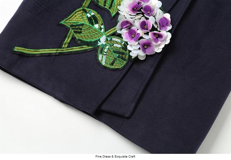 NOUVELLE vente en trois dimensions fleur broderie dames tempérament manteau en laine M89689