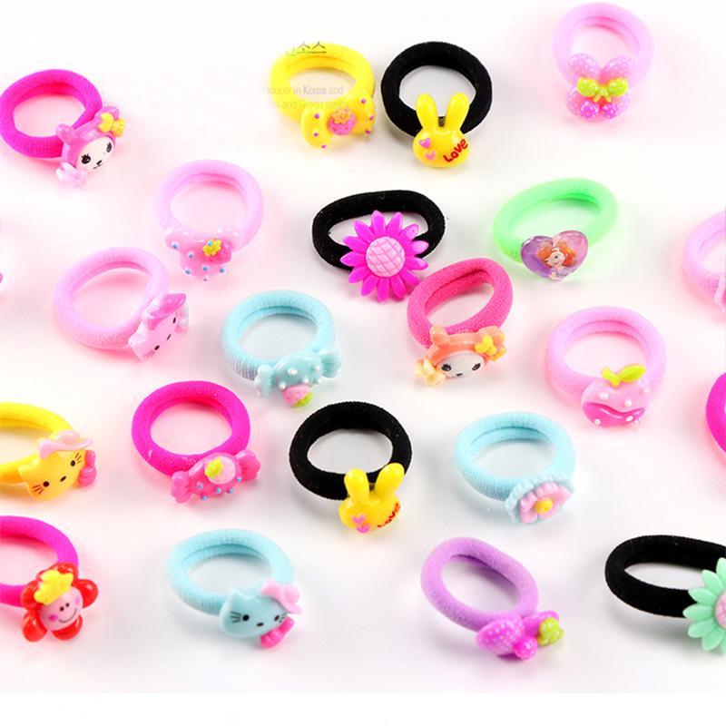 10 PCS / Lot Petites Filles Bande Dessinée Élastique Bande De Cheveux De Bonbons Couleur Cheveux Corde Enfant Résine Bandeau Enfants Cadeau Cheveux Accessoires Cravate Gomme