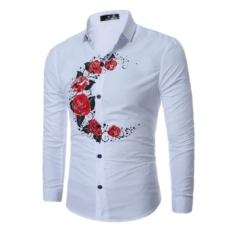 3fc1ecbfd8 Compre 2108 Recién Llegado De Moda Rose Estampado Floral Hombres Vestido  Camisas De Manga Larga Luna Patrón Ocasional Camisa Para Hombre Tops Para  Hombres ...