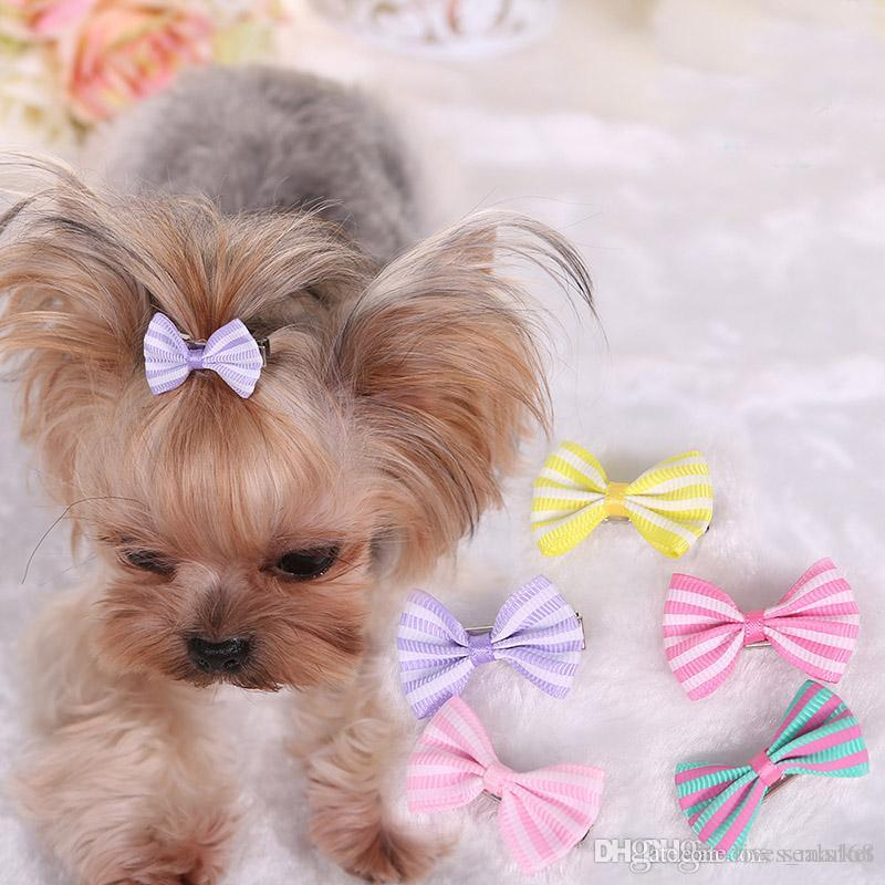2018 Dog Hair Bows Clip Pet Cat Puppy Grooming Striped Bowls For