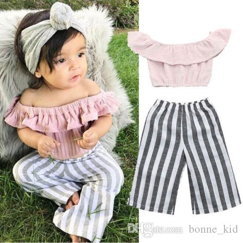 d47e764dbfc Kid Baby Girl Pink Off Shoulder Tops T-Shirt + Striped Bell-bottom Trousers  2Pcs Outfits Fashion Summer Kids Girls Clothing Boutique Costume