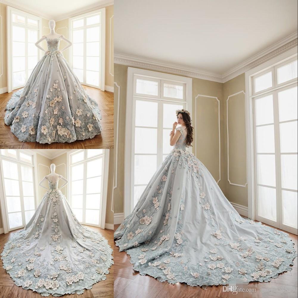 2018 Grey Luxury Wedding Dresses Ball Gowns Jewel Neck With Hand ...