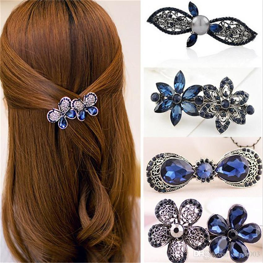 2018 New Hot Fashion Women Girl Cute Colorful Shinning Crystal Rhinestones Bows Hairpin Flower Hair Clip Jewelry Wholesale