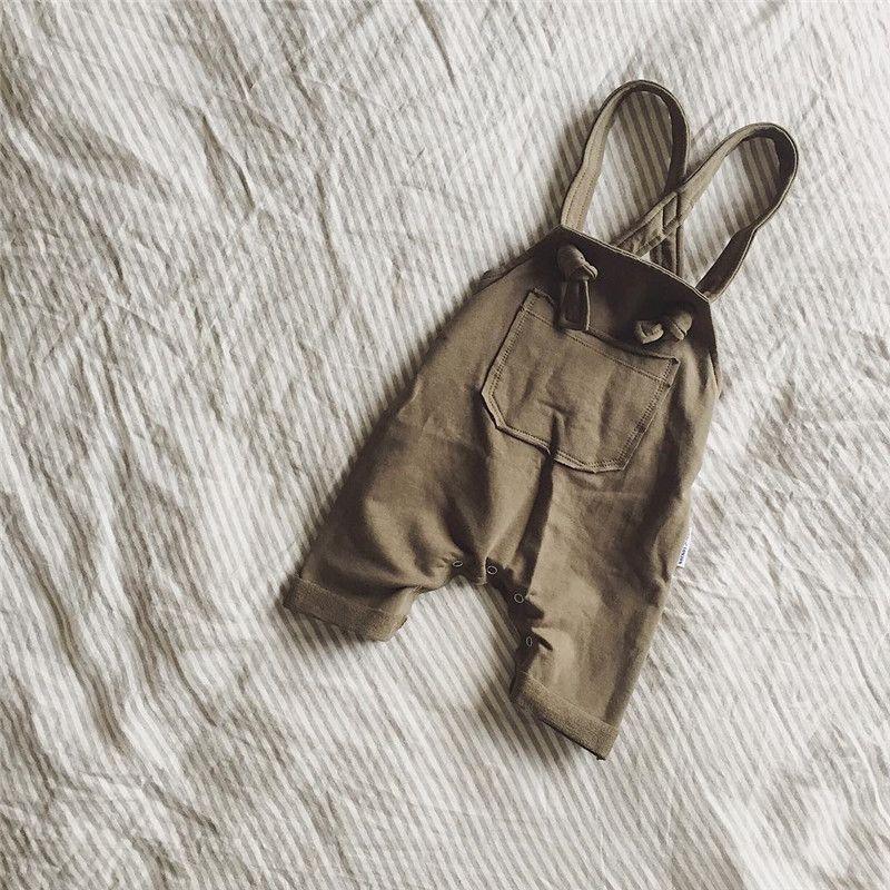 2018 New Spring Toddler Tuta Baby Suspender Pants Tuta neonato solido Green / Brown Girls Cute Tuta Pantaloni bambini