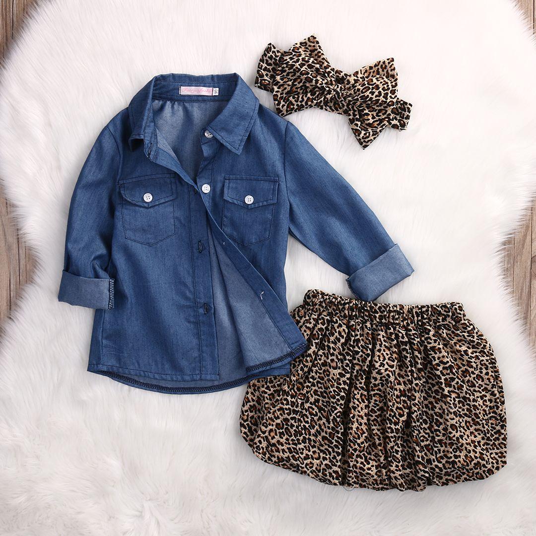 3 STÜCKE Set Nette Baby Mädchen Kleidung 2017 Sommer Kleinkind Kinder Denim Tops + Leopard Culotte Rock Outfits Kinder Mädchen Kleidung Set