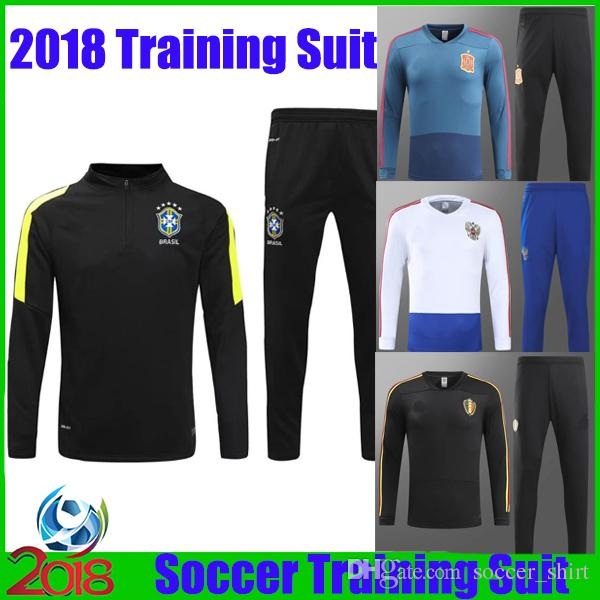 6da7bbe3e New 2018 Brazil Soccer Tracksuit Man Uniforms Spain Jacket + Pants Belgium  Russia Training Suits National Team Football Long Sleeve Set