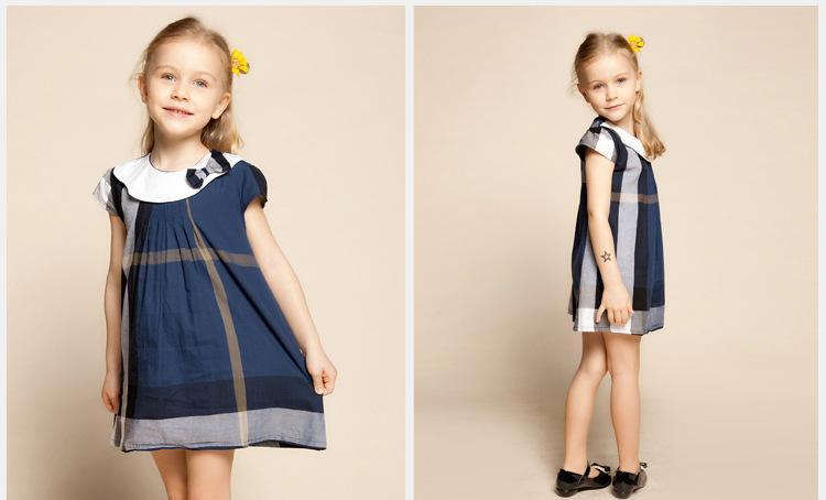2016 جديد 2-6 طن الصيف الفتيات ملابس الموضة منقوشة الاطفال الفساتين للفتيات كي طوق انكلترا نمط طفل الفتيات الفساتين