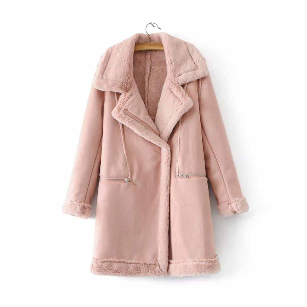 new product dc6cd 7a2e3 Winter verdicken warme Pu Lederjacke Frauen Rosa Faux Pelz Futter Mantel  Casual Damen Slim lange Oberbekleidung Cool Casaco Feminine