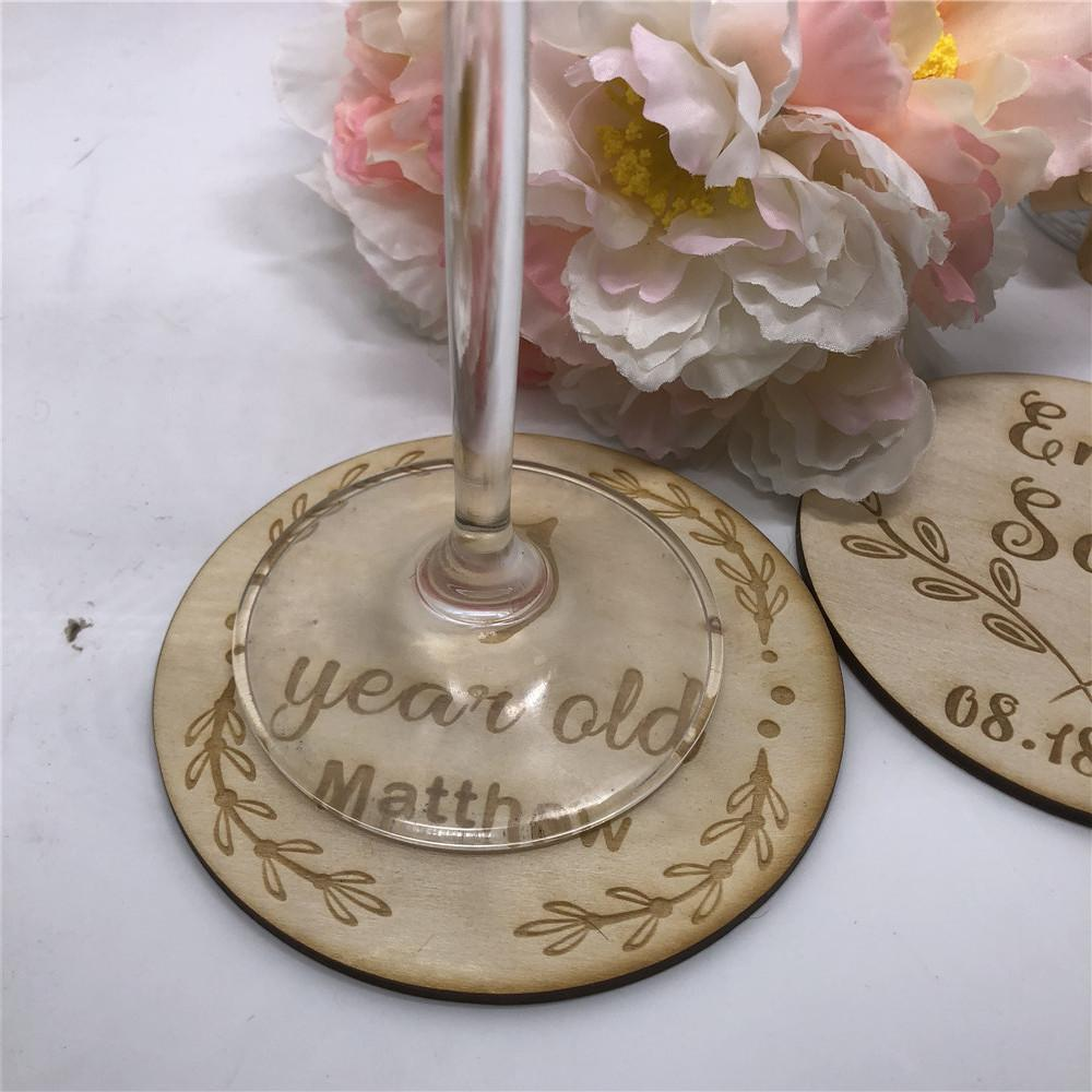12pcs Personalized One Year Old Birthday Coaster Wooden Party Table Decoration Coasters Custom Favor Supplies