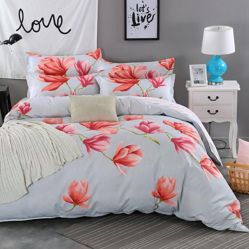 Super Beautiful Big Red Floral Bedding Set Duvet Cover Set Vivid