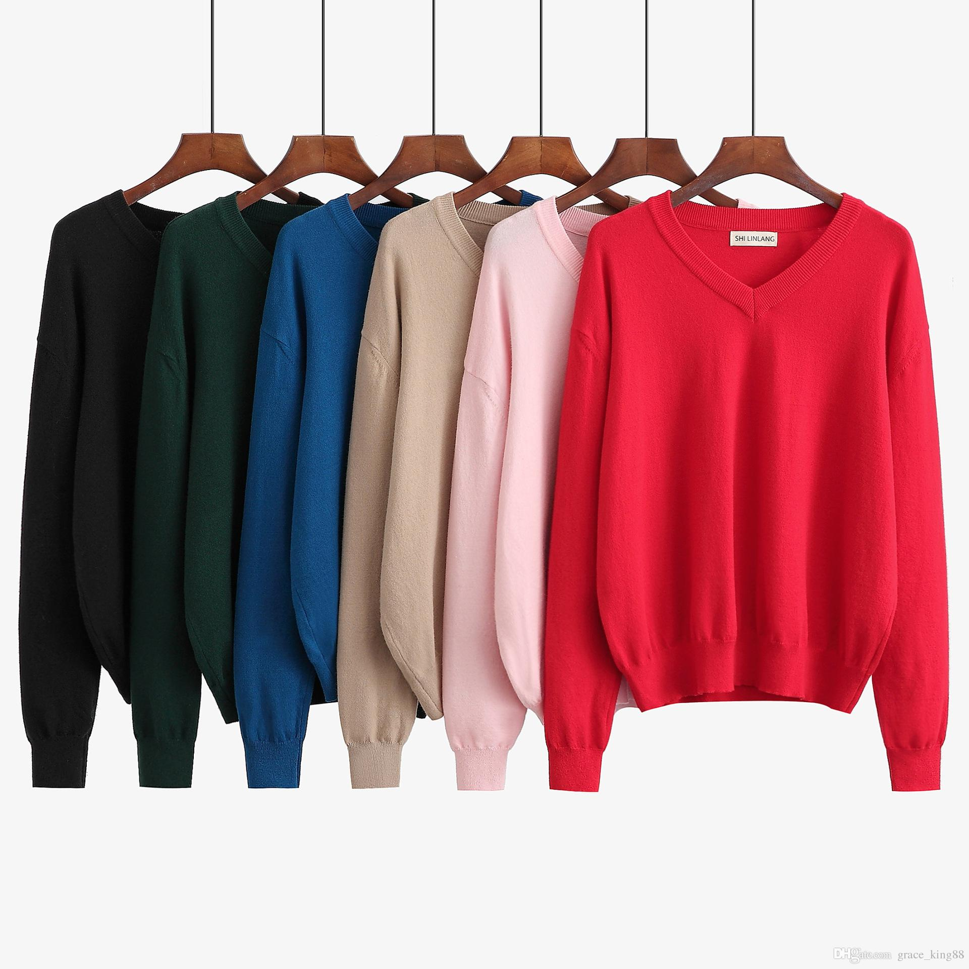3088c076866e87 2019 2018Autumn Winter New Women S Sweater Loose Long Sleeve V Neck Sweater  Knitwear Plus Size Fashion Pullover Knit Sweater M XL From Grace king88