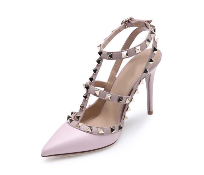 4e337f60e153be Großhandel Frauen High Heels Kleid Schuhe Partei Mode Nieten Mädchen Sexy  Spitz Schuhe Schnalle Plattform Pumpen Hochzeit Schuhe Schwarz Weiß Rosa  Farbe 54 ...