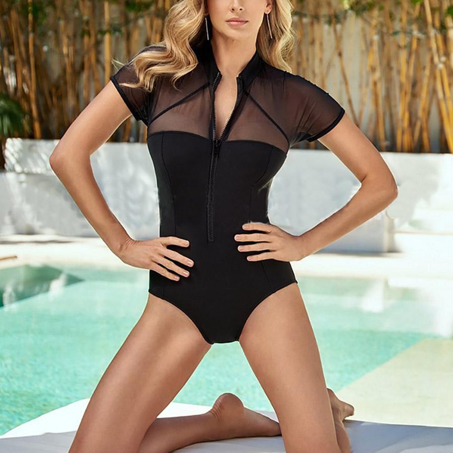 3b54a7eb7a2d2 2019 New Sexy Mesh One Piece Swimsuit Women High Quality Zipper Front Cut  Out Swimwear Bodysuit Sheer Monokini Splicing Bathing Suits From  Swimwear2016