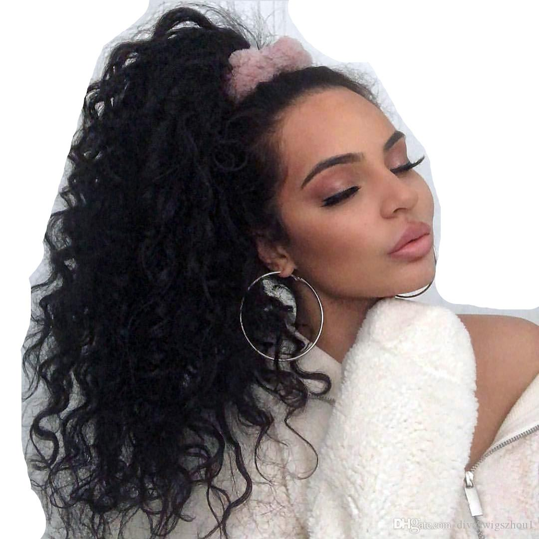 Human Hair Ponytail Extensions Wrap Around Real Remy Curly Human