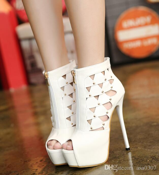 ca8e36267ec8ae Women High Heels New Style Hollow Metal Rivets Overheight with Fine ...
