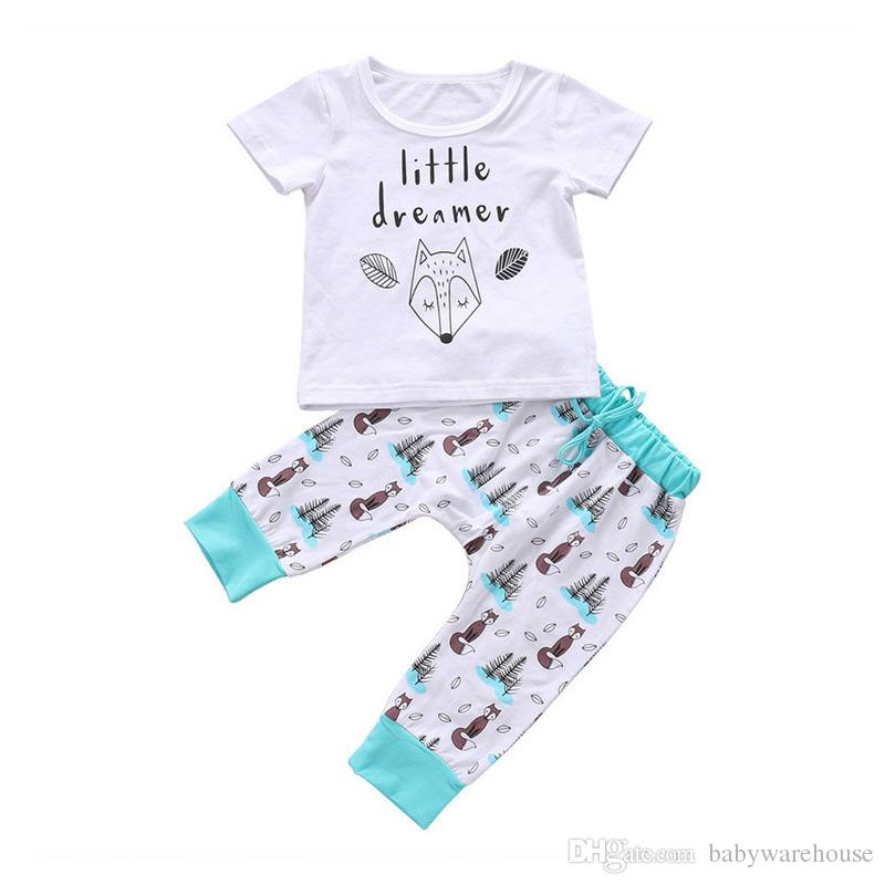 6e474b8d5 2019 Kids Clothing 2018 Summer Autumn Newborn Clothes Infant Baby Boy  Clothes Girls Outfits Letter Fox Short Sleeve T Shirt Tops Pants Suit From  ...