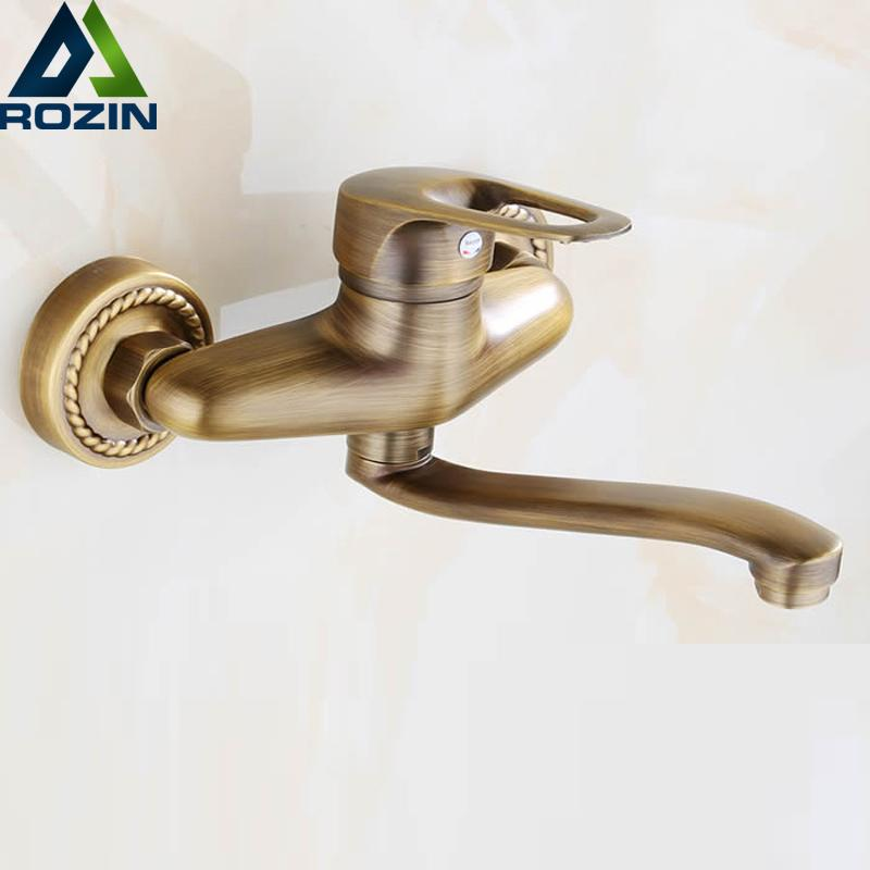 2019 Antique Brass Long Spout Kitchen Faucet Single Handle Dual Hole