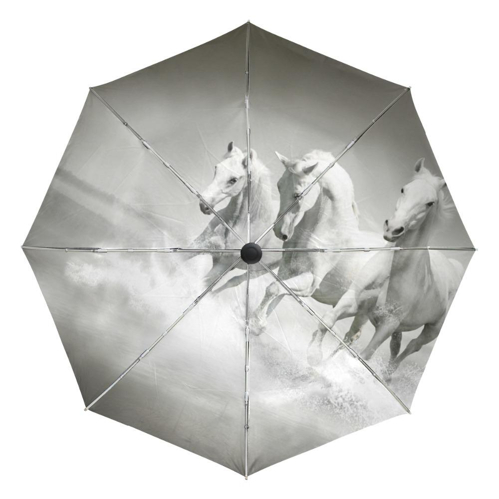 2019 White Horse Running Portable Folding Rain And Sun Beach Umbrellas Hat  Unique Parasol Automatic Umbrella With Outer Black Coating From Tim2012 7e040462c33