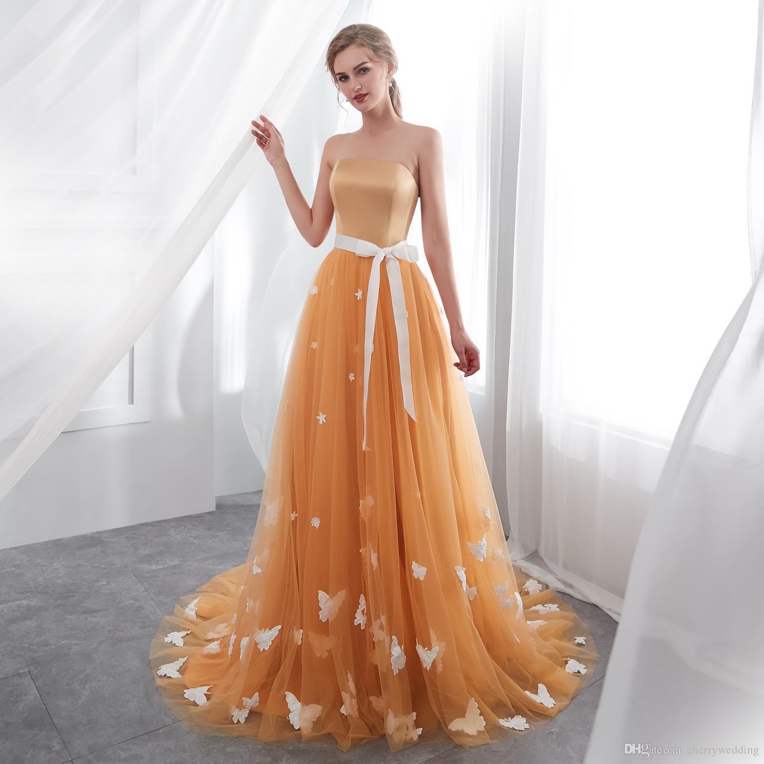 c54911a2a90 Strapless Wedding Dresses Straight Neck Gold A Line Wedding Dress Color  Wedding Dress Tulle Skirt Rob Robe Mariee Detachable Sash 23E017 Amazing  Wedding ...