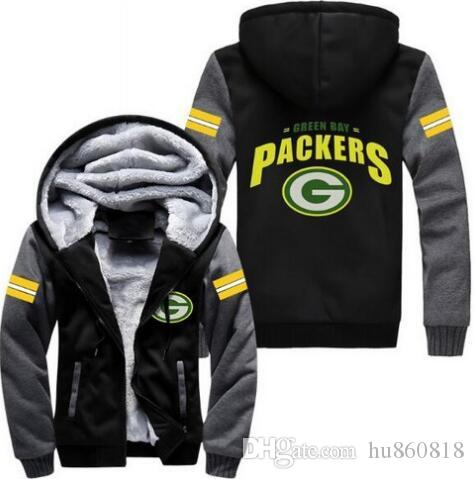 2019 2018 Green Bay Packers Sweatshirt Warm Fleece Thicken Jacket Zipper  Coat Hoodies   Sweatshirts Up To Date Jacket From Hu860818 8a16f4af9