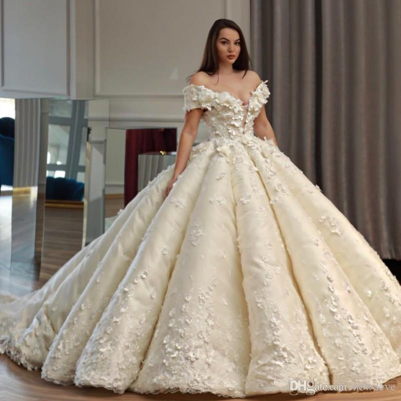 Princess Wedding Dresses: Saudi Dubai Princess Wedding Dress Off Shoulder Beads 3D