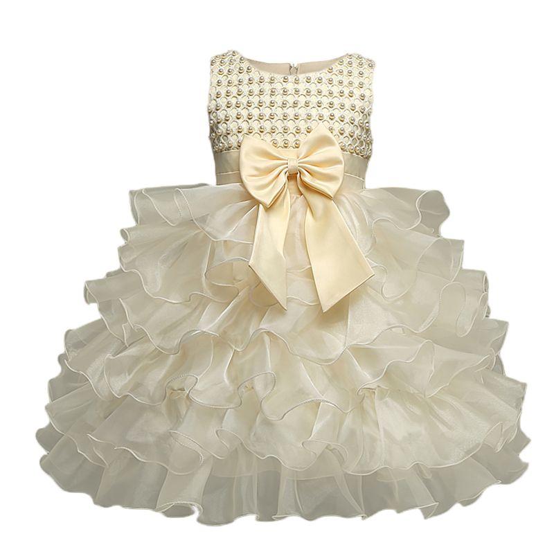Neugeborenes Baby Mädchen Kleid Taufe Taufe Fluffy Blumenmädchen Hochzeitskleid 1 2 Geburtstag Outfits Infant Party Kleid Vestido Y18102007