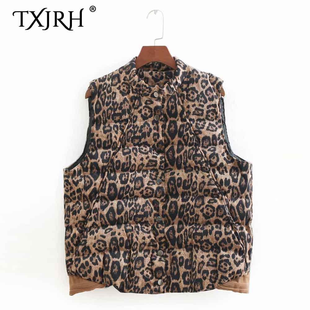 95497d28b21ea 2019 TXJRH Vintage Leopard Print Corduroy Autumn Winter Fashion Women Vest  Waistcoat Sleeveless Quilting Cotton Slim Fit Coat Tops From Lichee666