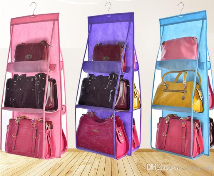 Wholesale- Hot Sale Pocket PVC Storage Bag Closet Wardrobe Rack Hangers Holder For Fashion Handbag Purse Pouch Bags Organizer Hang Bag a372