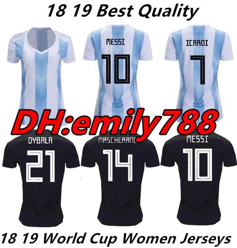 Compre 2018 Copa Do Mundo Feminina Argentina Camisa De Futebol 18 19 Messi  Di Maria Aguero Kompany Dybala Higuain Camisas De Casa Icardi Camisolas De  ... 20c58993d98c0