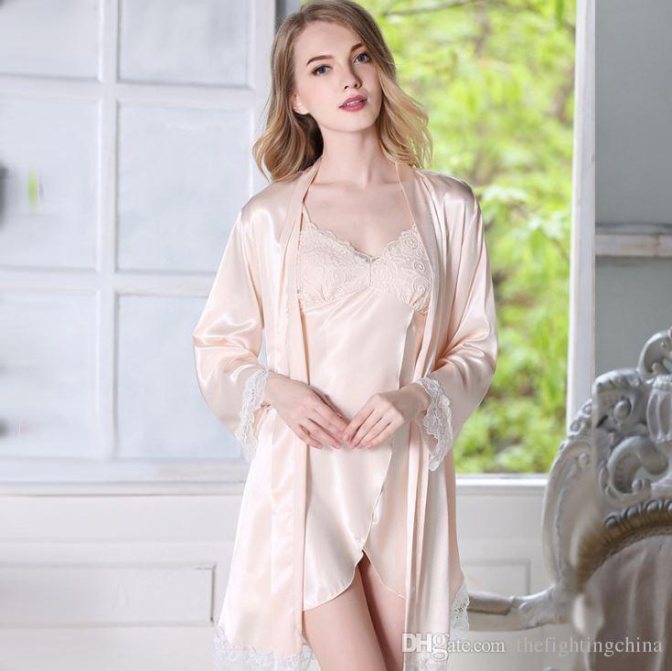 Printemps et été manches longues brodées avec un pyjama sexy ( Couleur : Noir , taille : S )