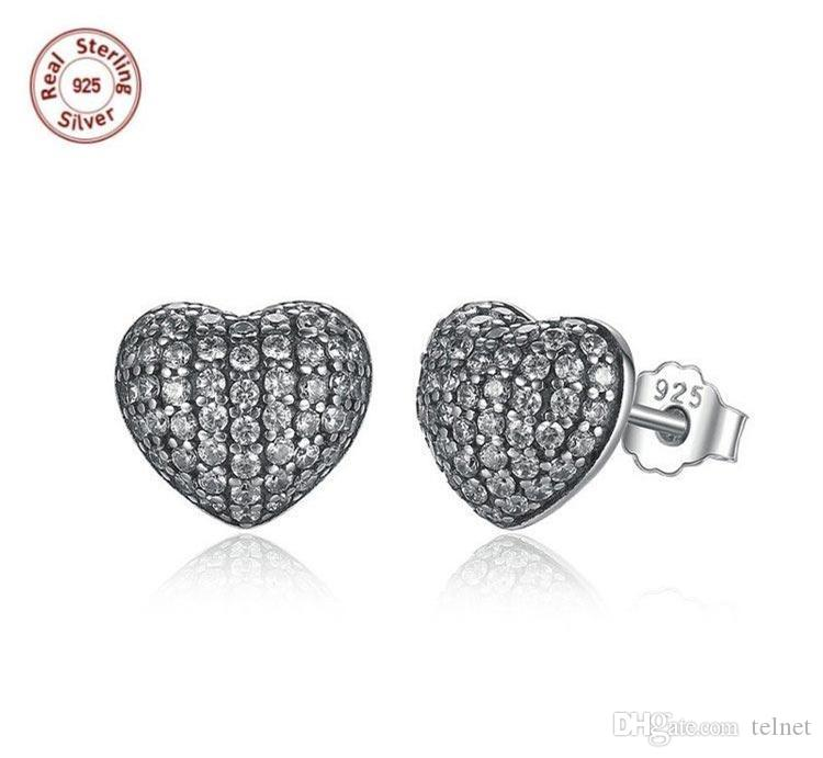 4c847c2b3 Authentic 100% 925 Sterling Silver Stud Earrings Heart With White ...