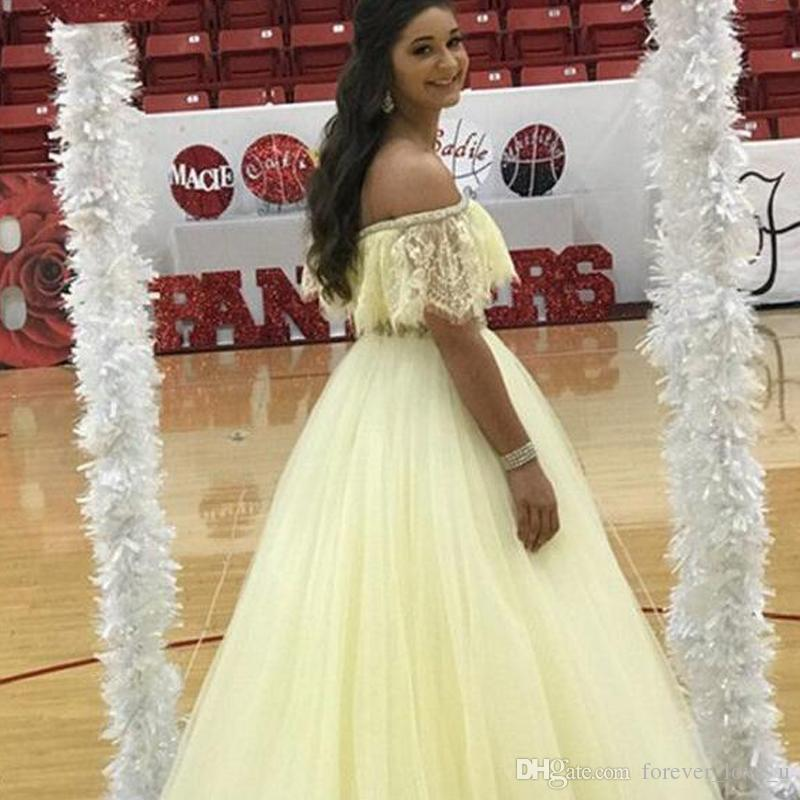 712f0f9a676cd 2019 Light Yellow Daffodil Prom Dresses Off The Shoulder Lace Tulle Floor  Length Evening Party Gowns Crystals Belf Formal Dress Custom Made Prom Dress  Long ...