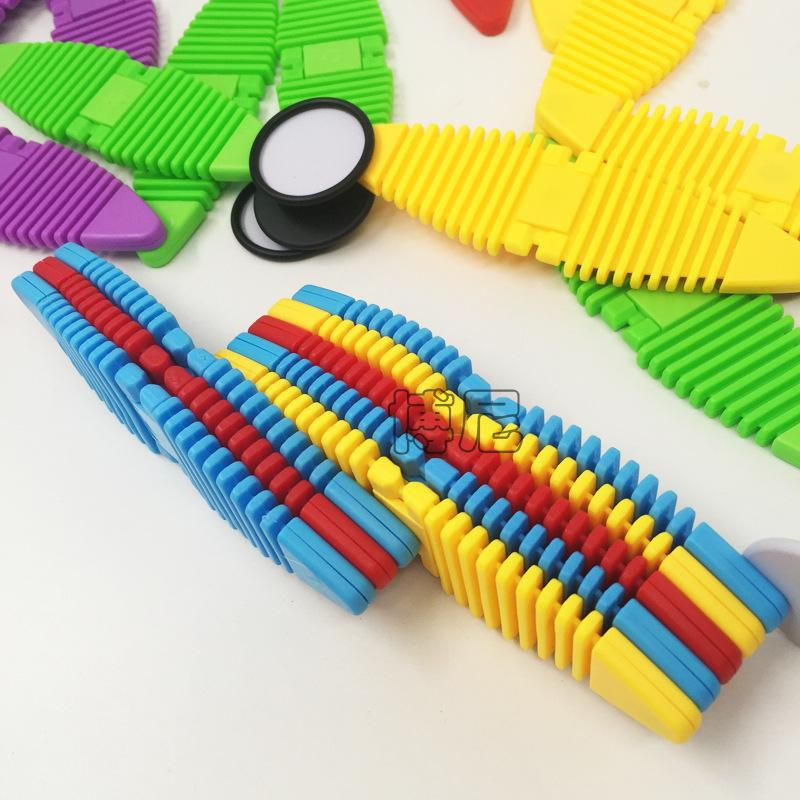 Flexible Magnetic Construction Kit Silicone Building Blocks Mix Colorful Magnetic Strips Metal Eyes Building Kits