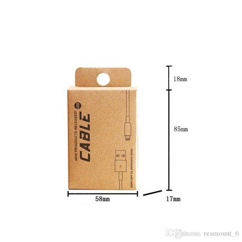 Retail Kraft Paper Packaging for 0.5-1.5M USB Cable Custom Paper Packaging Box for Phone Accessories with Hang Hole