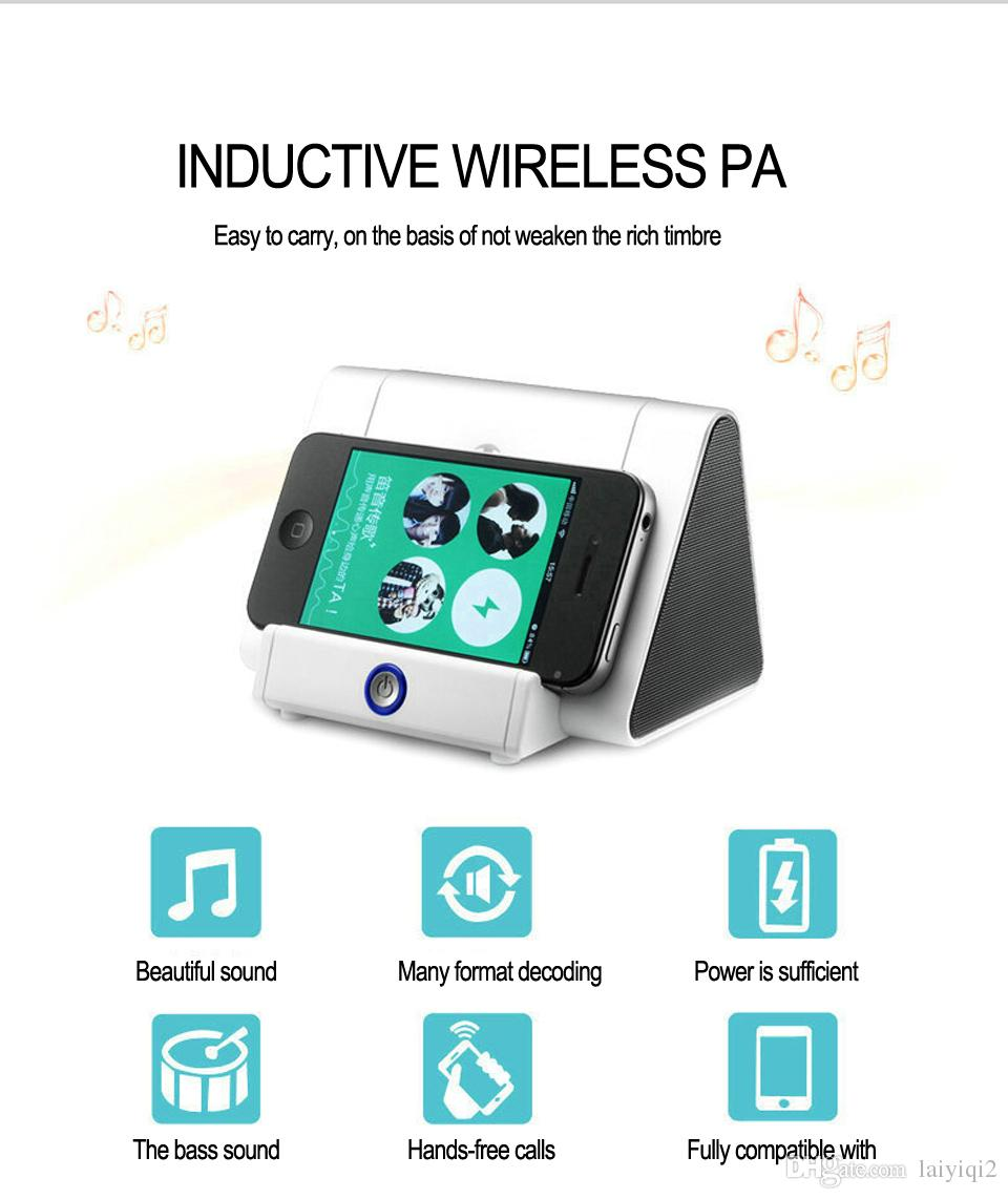 2018 new popular fashion Smart sensors Magic Induction Wireless Amplifier woofer Bass Speaker Non Bluetooth Stand Holder for Iphone Samsung