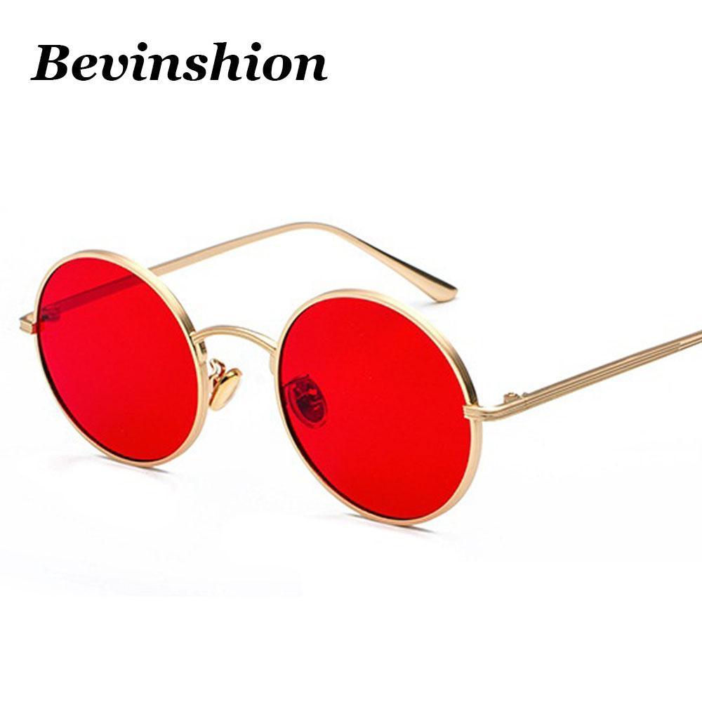 70b1421185 Compre Metal Redondo Corea Cool Vintage Steampunk Gafas De Sol Mujeres Rojo  Amarillo Lente Color Punk Sun Gafas Hombres Harajuku Estilo Retro 2018 A  $34.13 ...