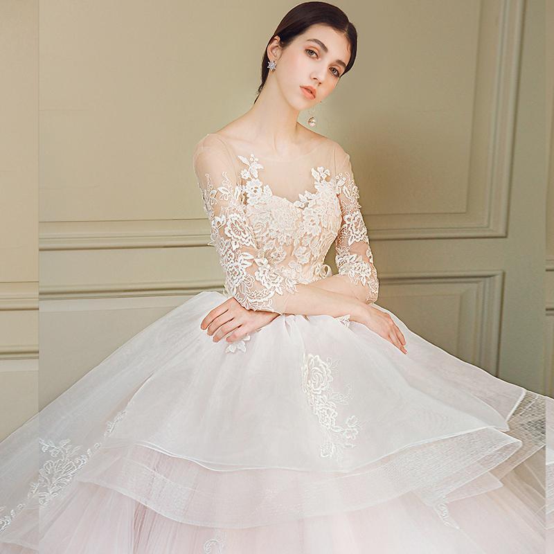 Korean Wedding Dress 2018 New Long Sleeved Long Sleeved Long Tailed