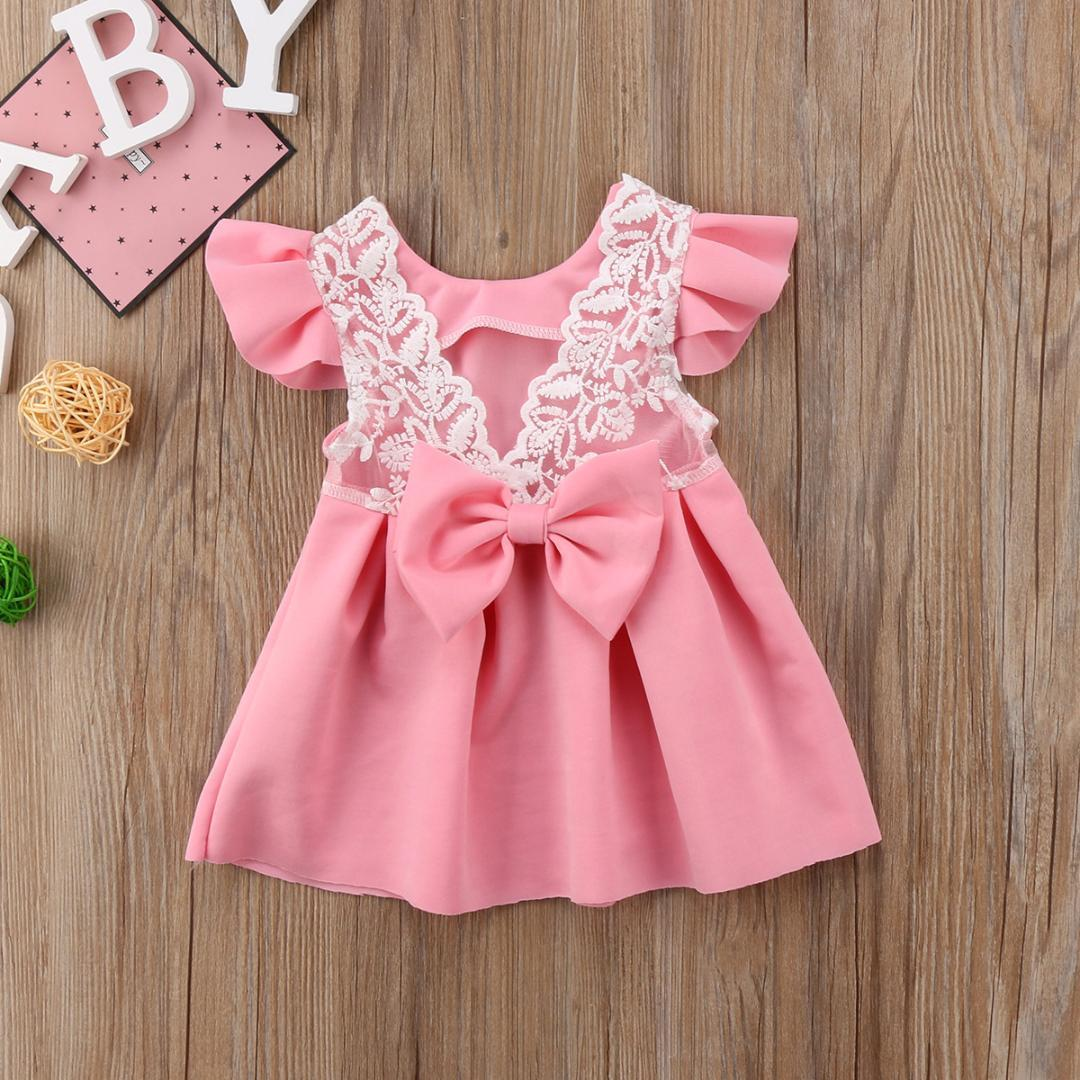 fc26d2306773e Pudcoco Baby Girls Dress Toddler Girls Backless Lace Bow Princess Dresses  Tutu Party Wedding birthday Dress for Easter