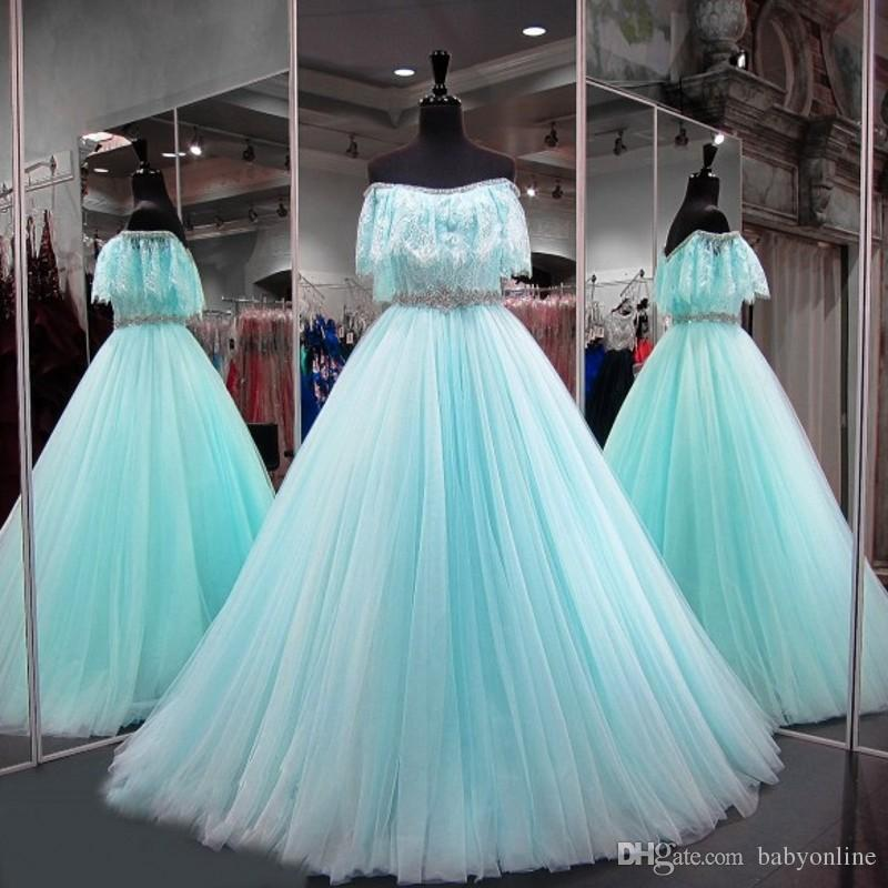Popular Sage Green Sweet 16 Quinceanera Dresses Lace Off Shoulders  Rhinestones Sequins Evening Party Prom Gowns Formal Wears Peach Quinceanera  Dresses ... 1e5c171ac56a