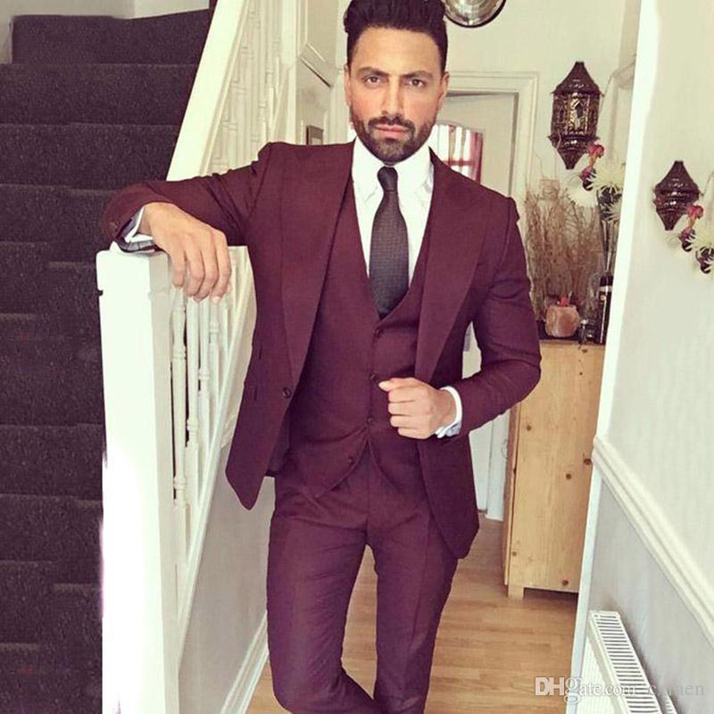 Custom Burgundy Groom Tuxedos Wedding Suits For Men Slim Fit