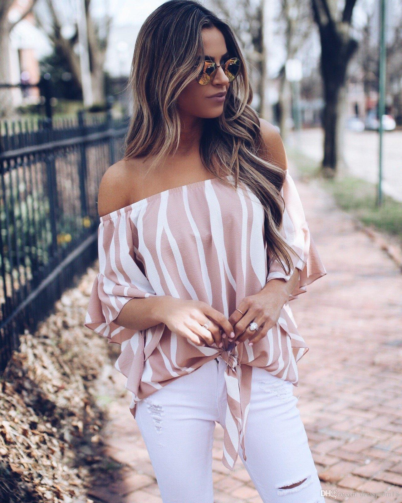 626bb061246 2019 Womens Sexy Off Shoulder Two Tone Striped Tops Elasticized Neckline  Knotted Tie Front Hem Shirt Blouse For Summer From Dressprom18, $14.58 |  DHgate.Com