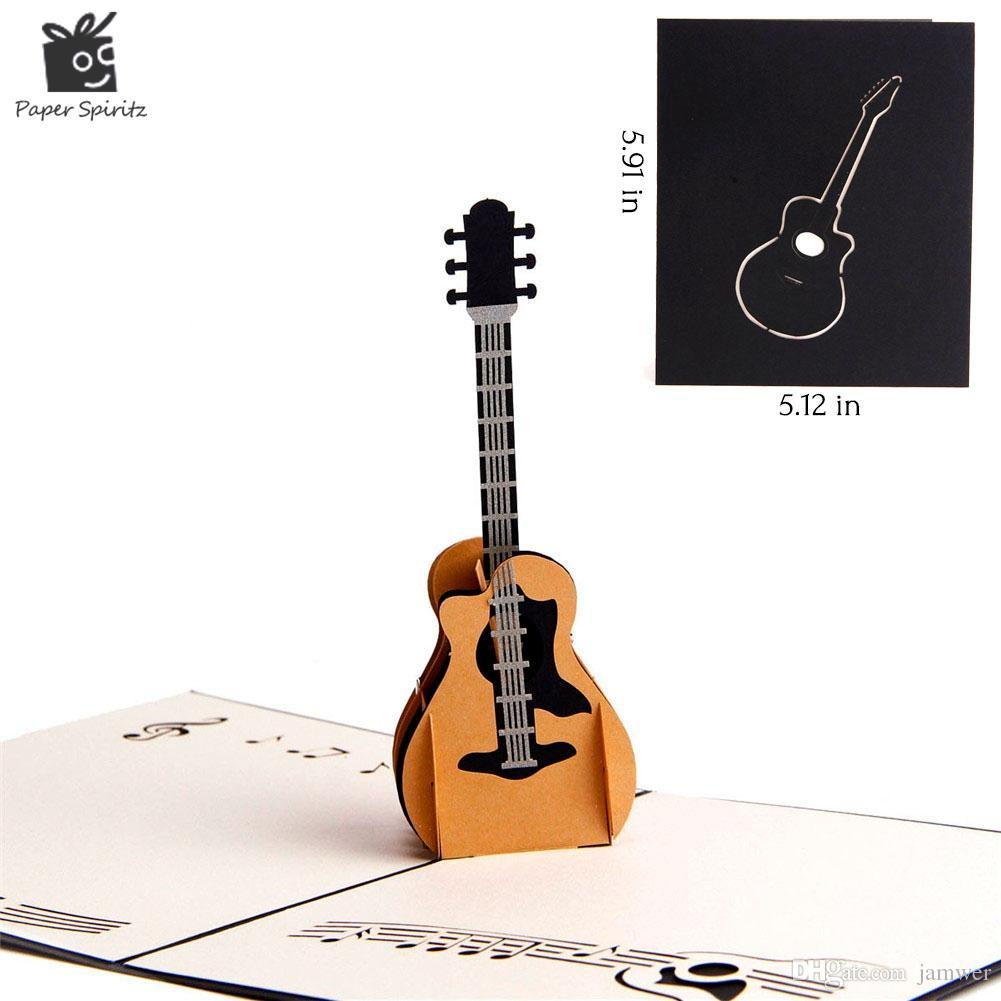 Wholesale 3D Pop Up Laser Cut Vintage Cards Guitar Postcards Happy Birthday Greeting Thank You For Lover Teacher Souvenir Christmas Card
