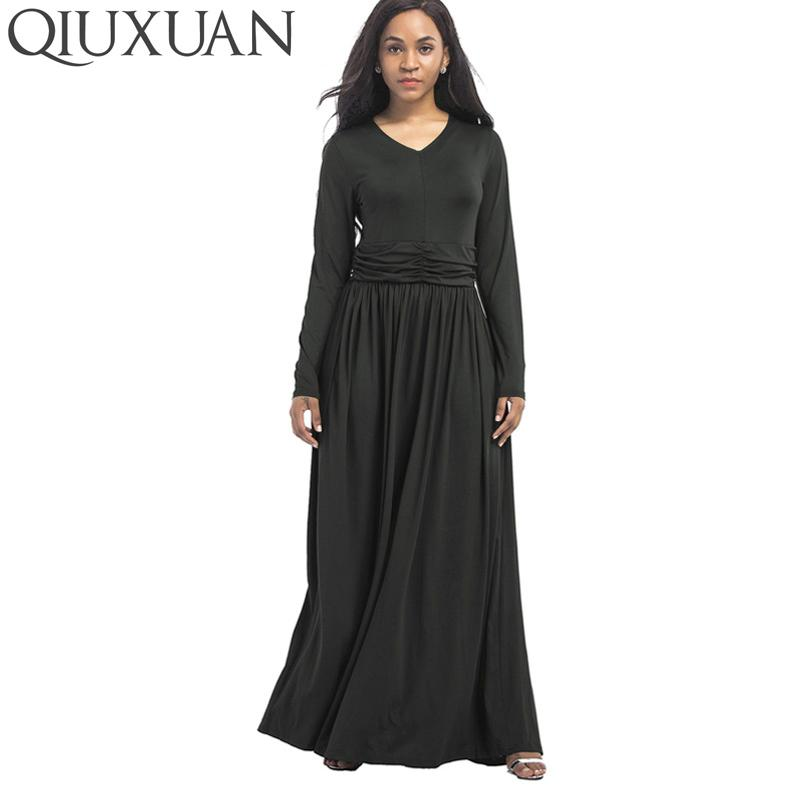 QIUXUAN Plus Size Spring Long Sleeve Maxi Dress Fashion Plunge Neck Ruched  Waist Women Casual Dress Swing Maxi