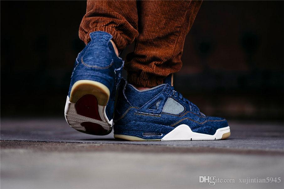 new style de7c8 832b9 Compre Levis X Air Jordan 4 NIKE Basketball Shoes 2018 Nuevo 4 4s Denim LS  Jeans Travis Hombres Blue Jeans Sweetheart Zapatos Casuales De Alta Calidad  Con ...